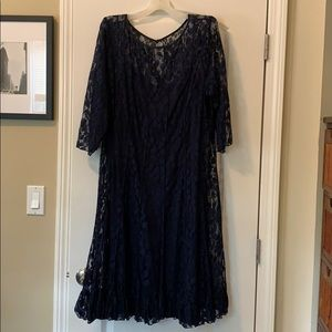 Jessica Howard Navy Blue Lace A Line dress